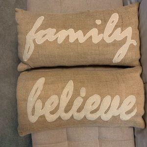 Farmhouse Burlap Throw Pillows Set of 2